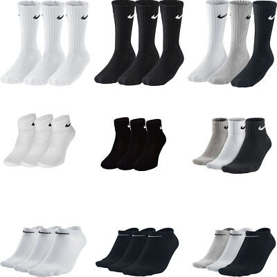 Nike 3ppk Pair Cotton Crew Ankle Sports Socks Mens Womens Unisex  Size UK 2-14