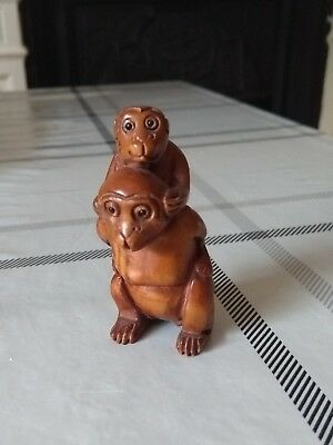 Netsuke Japanese Wooden Monkey and Monkey Baby