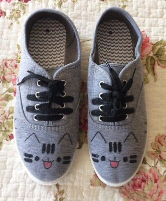 Pusheen Fabric Shoes ~ Hand Decorated ~ New in a size 10 (US sizing)