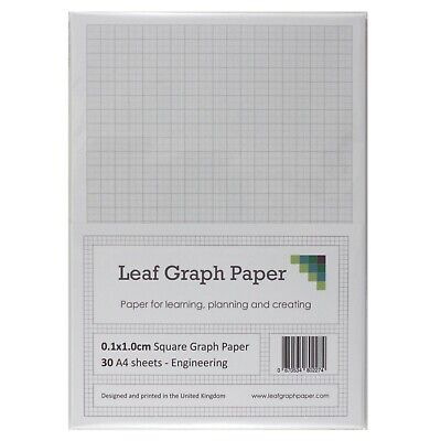 A4 Graph Paper 1mm 0.1cm Squared Engineering, 30 Loose-Leaf Sheets, Grey Grid