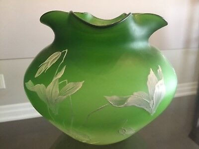 Antique Satin Glass Decorated Hand Painted Vase