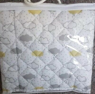 New quilted cloud cot bumper baby pad white grey yellow scandi nordic nursery