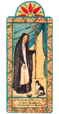 SAINT GERTRUDE of NIVELLES CATS CAT LOVERS HANDCRAFTED WOOD POCKET RETABLO 63