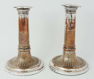 KING GEORGE III OLD SHEFFIELD PLATE PAIR CANDLESTICKS c1800