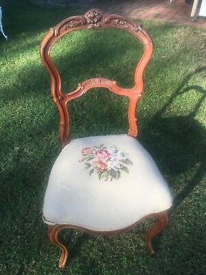 Antique Carved Walnut Side Chair Embriodered Floral Seat Cabriole Legs