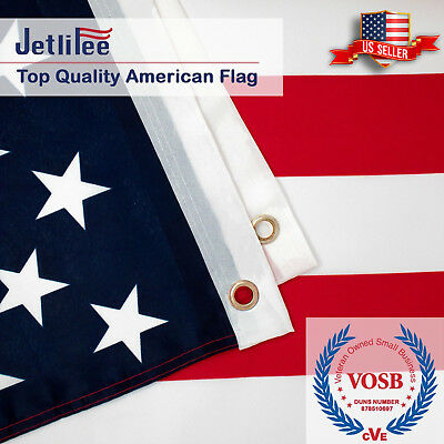 3x5 ft American Flag USA US Embroidered Stars Sewn Stripes Brass Grommets flags