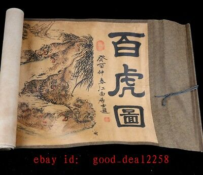Old Collection Scroll Chinese Painting / Hundred Tiger Diagram FG43