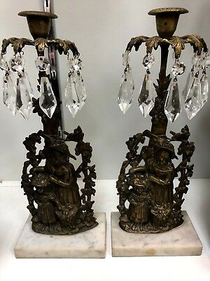 Antique Brass Candle Holders on Marble base crystals NO RESERVE