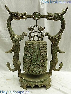 """20"""" China old bronze carved fine two dragon bell stoppers sculpture Statue"""