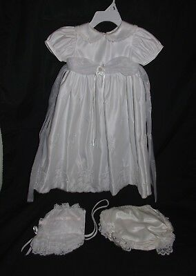 Baptism Christening Gown Dress Baby Girl White Embroidered Cross VGUC