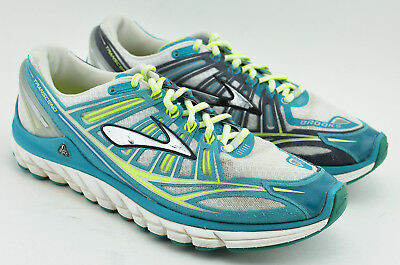 4f6a9e84d83 Womens Brooks Transcend 1 Running Shoes Size 11 Us White Turquoise Green  Yellow