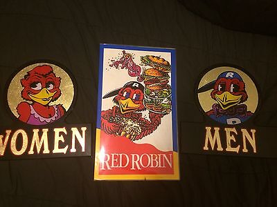Red Robin Restaurant Restroom Signs and Vintage Menu Bathroom Mens Womens RARE