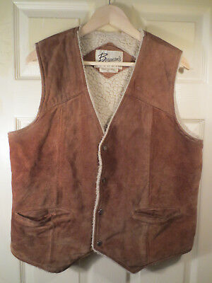 Vintage Bermans Leather Suede Sherpa Sheep Lined Vest Men's Size 42