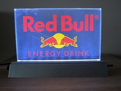 Red Bull Energy Drink Light Up Led Tabletop Sign *brand New Condition*