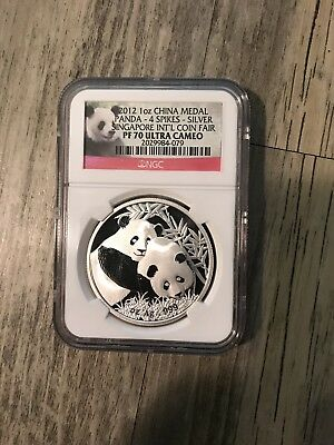 2012 China Panda 1 OZ .999 Silver Singapore Coin Fair PF70UC NGC 4 Spikes!