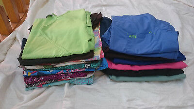 MIXED LOT OF 20 SCRUBS WORK WEAR Size LARGE 12 tops 8 pants Dentist Vet