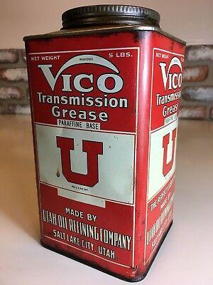Hard To Find Vico Oil Transmission Grease Can Tin Utah Oil Refining