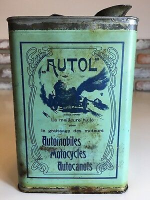 *RARE* AUTOL French Oil Can Automobile MOTORCYCLE Tin *RARE* GREAT GRAPHICS!