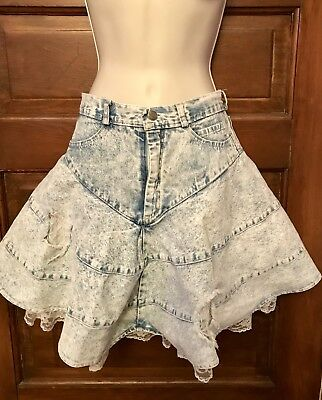 Vintage 80s Jean Skirt Size 7. Contempo Built In Ruffle Slip 80s/90s Fashion
