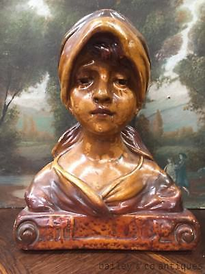 Antique French Bust of Peasant Girl Statue Large Plaster - TM570