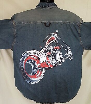 66e685f1dd06f2 Mens L Chopper Jean Shirt Denim Full Back Graphic Hand painted Unsigned  Eagle