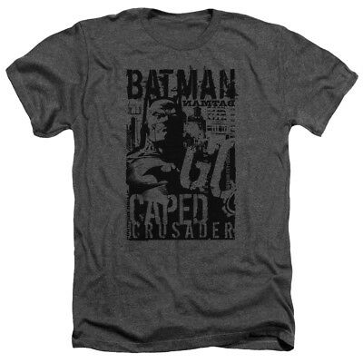 Batman CAPED CRUSADER Gotham City Licensed Adult Heather T-Shirt All Sizes