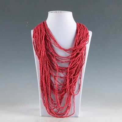 Collectibles Decorated Handwork Tibet Red Coral Necklaces RX018