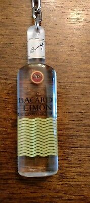 Bacardi Limon Rum Keychain Clear Plastic Bottle Shaped Gently Used