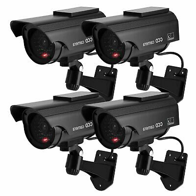 4X Outdoor Solar Dummy Security Camera Fake CCTV LED Flashing Light Imitation