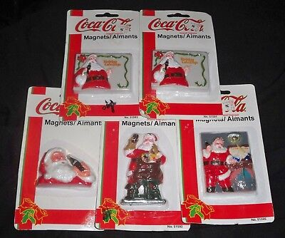 Lot of 5 Coca-Cola Santa Claus Christmas Magnets Coke - Sealed In Packaging 1997