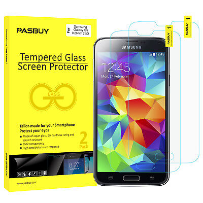 RetailBox 2 Pack Premium Tempered Glass Screen Protector for Samsung Galaxy S5