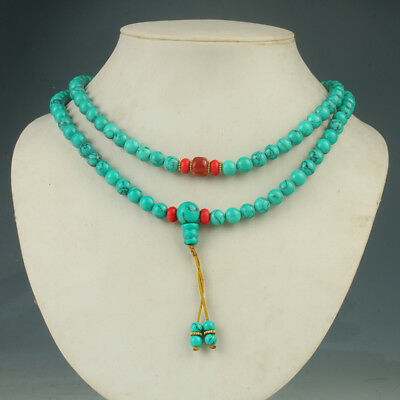 Chinese Old turquoise & Beeswax Handwork Decoration Necklaces  RX011