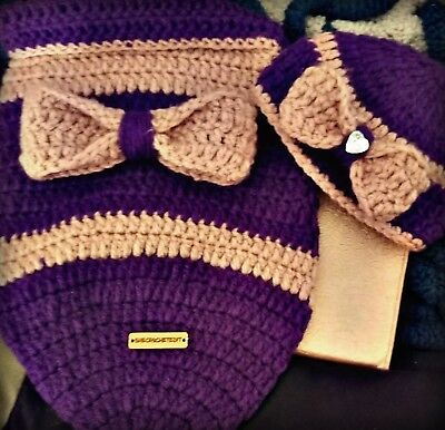 Crocheted baby sac with matching beanie