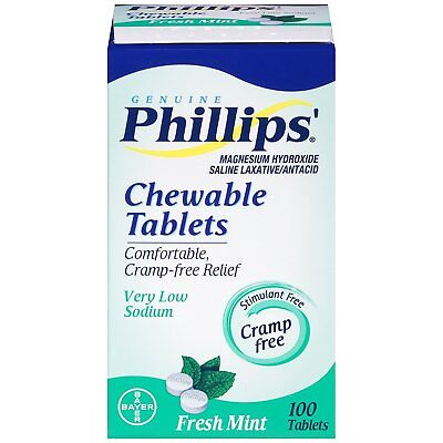 Phillips Chewable Laxative Fresh Mint - 100 Tablets - 9/2016 - Collectible