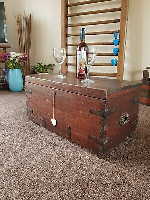 Victorian Chest, Antique Blanket Box, Storage Coffee Table, Old Furniture