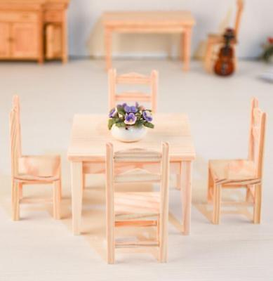 5Pcs Set 1:12 Dollhouse Miniature Kitchen Furniture 1 Wooden Table + 4 Chairs