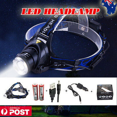 Cree T6 XML Led Headlamp Headlight Zoomable Torch 18650 Rechargeable Battery AU
