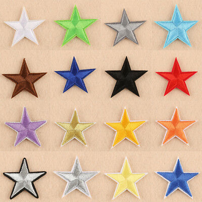 10/50PCS Star Shape Embroidery Sew Iron On Patch Badge Clothes Applique Fabric