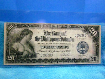 1928 Series Twenty Pesos The Bank Of The Philippine Islands Serial #d39338D