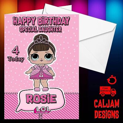 Lol Dolls Surprise Birthday Card Personalised Any Name Or Text