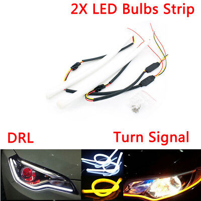 2pcs Tear LED Bulbs Strip Turn Signal Switchback DRL Daytime Running Light DC12V