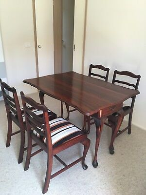 Antique Queen Anne folding dining table with 4 dining chairs