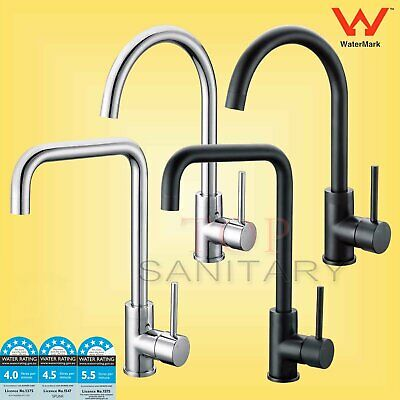WELS Black Chrome 360° Swivel Basin Mixer Sink Kitchen Laundry Faucet Tap Spout