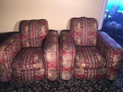 Pair of Club Lounge Chairs Upholstered