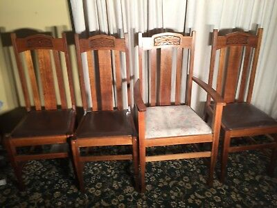 Set of 4 Carved Hardwood Dining Chairs