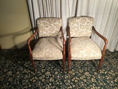 Pair of Bridge Chairs with Cream and Gold Upholstery