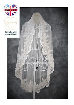 Bridal Veil *Fingertip Length*1 Tier*Wide Corded Lace*Off White/Ivory*Bespoke *