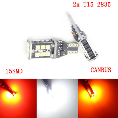 2X 12V T15 2835 15SMD Canbus Pure White LED Light Parking light Stop Light Lamps