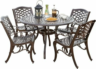 Patio Vintage Dining Set Outdoor Cast Aluminum Table And Chairs Yard Furniture