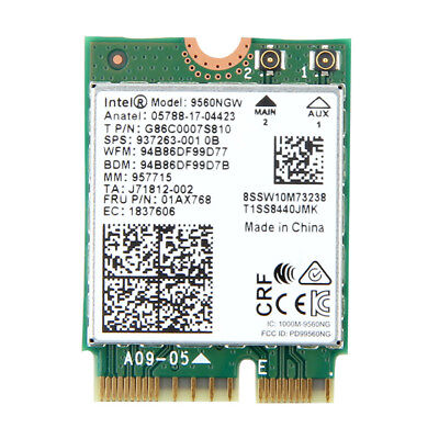 Intel Wireless-AC 9560NGW NGFF Dual Band 1.73Gbps BT 5.0 WiFi Card 01AX768
